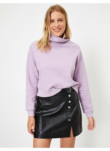 Koton Bogazli Uzun Kollu Basic Sweatshirt Mor